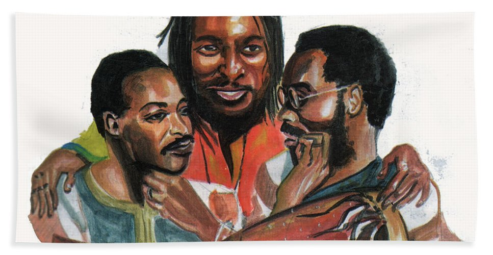 Portraits Bath Sheet featuring the painting Toure Kunda by Emmanuel Baliyanga