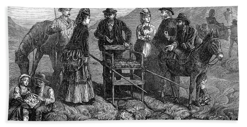 1872 Hand Towel featuring the photograph Tourists At Vesuvius, 1872 by Granger