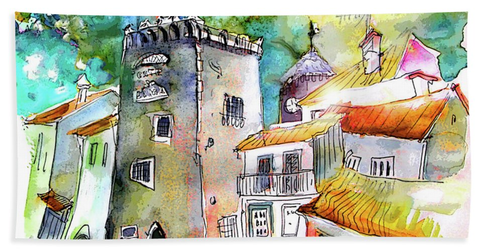 Portugal Hand Towel featuring the painting Tower in Ponte de Lima in Portugal by Miki De Goodaboom