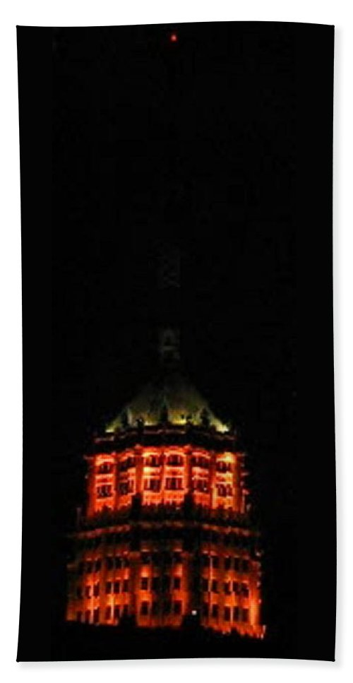 San-antonio Hand Towel featuring the photograph Tower Life Building At Night by April Patterson