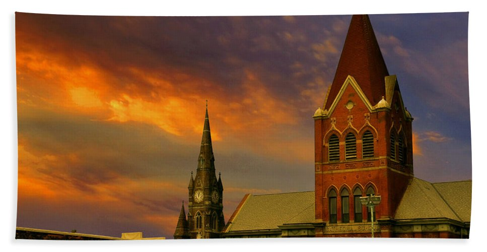 Church Bath Towel featuring the photograph Towers Of Faith by Brian Fisher
