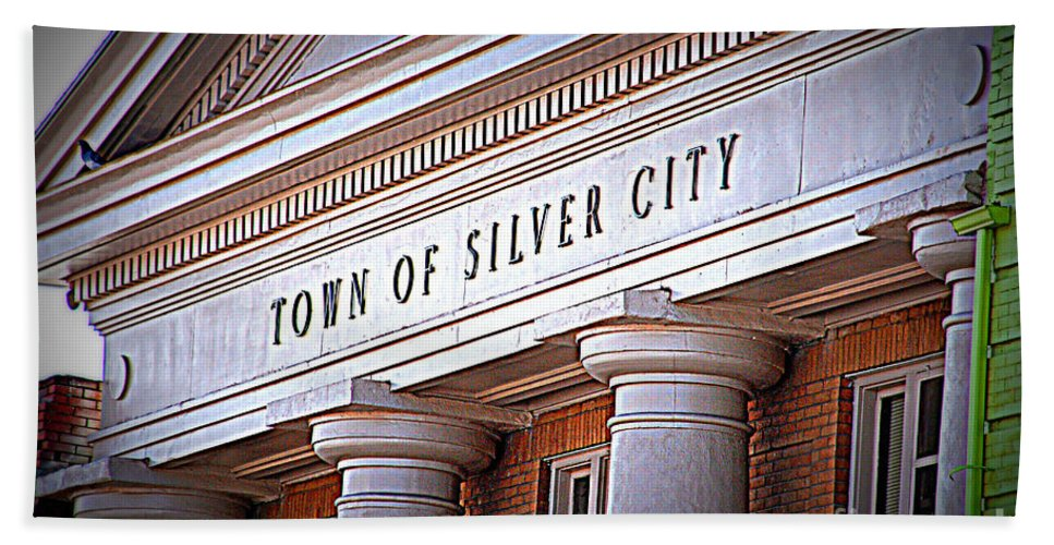 Town Of Silver City Hand Towel featuring the photograph Town Of Silver City New Mexico by Susanne Van Hulst