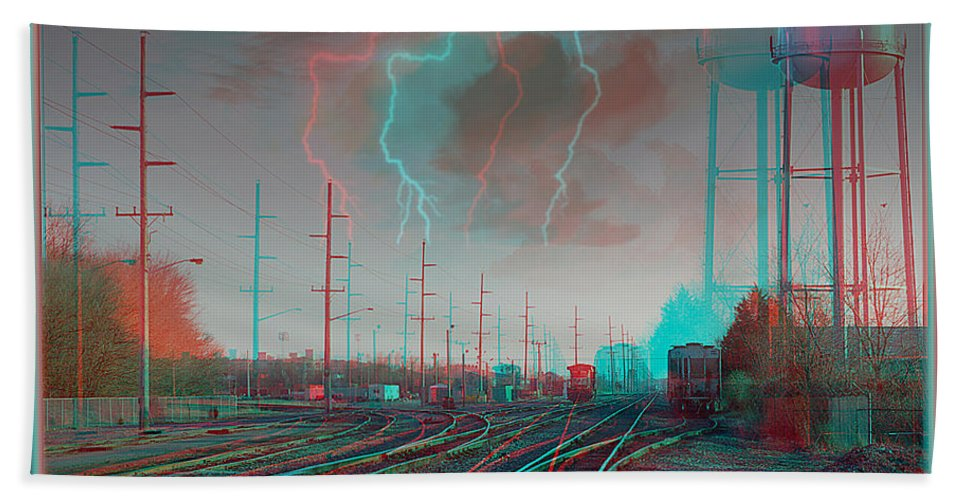 3d Bath Sheet featuring the photograph Tracking The Storm - Red-cyan Filtered 3d Glasses Required by Brian Wallace