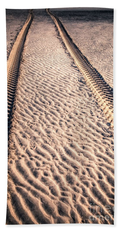 Sand Hand Towel featuring the photograph Tracks In The Sand by Adrian Evans