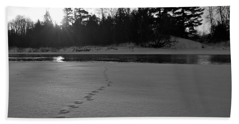 Black And White Bath Sheet featuring the photograph Tracks To The Water by Kent Lorentzen