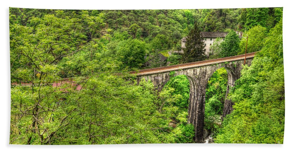 Bridge Hand Towel featuring the photograph Train Bridge by Mats Silvan