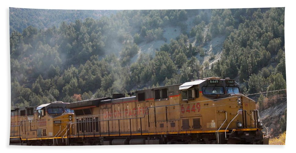 Smoke Stacks Bath Sheet featuring the photograph Train In Spanish Fork Canyon by Pamela Walrath