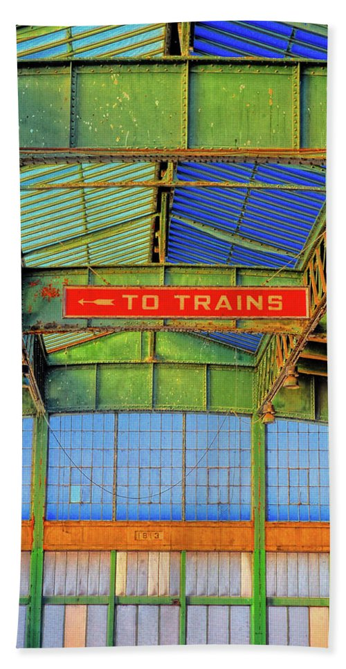 Liberty State Park Bath Sheet featuring the photograph Train Station by Dave Mills