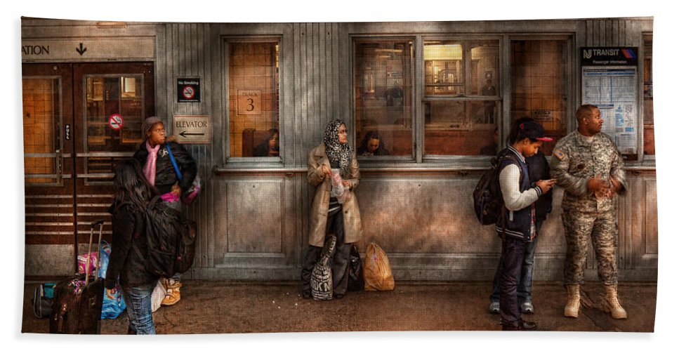 Train Hand Towel featuring the photograph Train - Station - Waiting For The Next Train by Mike Savad