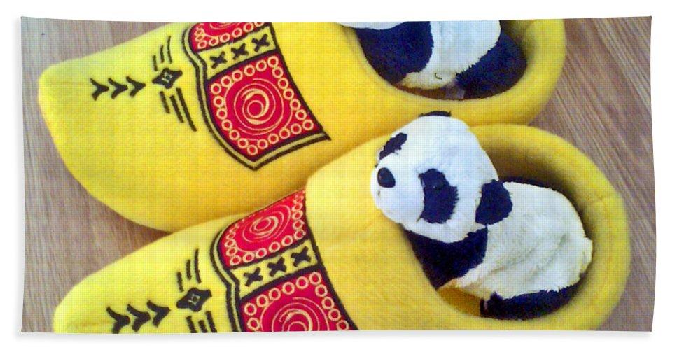 Dutch Hand Towel featuring the photograph Travelling Pandas Series. Dutch Weekend. Cozy Dutch Clogs. Square Format by Ausra Huntington nee Paulauskaite