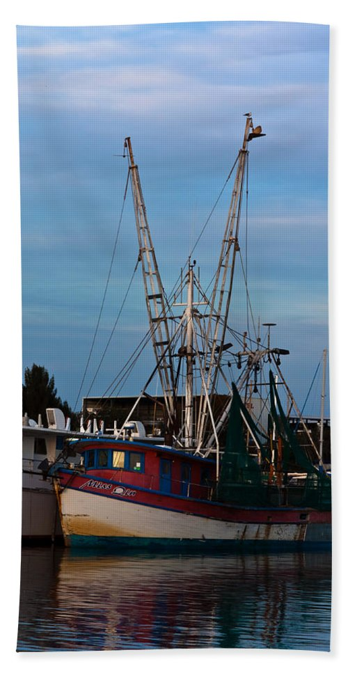 Blue Skies Hand Towel featuring the photograph Trawler At Port by Ed Gleichman