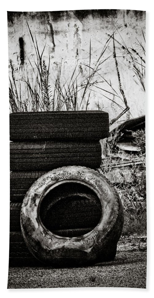 Tires Bath Sheet featuring the photograph Tread Lightly by Jessica Brawley
