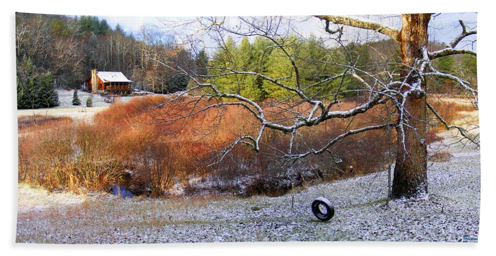 Trees Hand Towel featuring the photograph Tree And Tire Swing In Winter by Duane McCullough