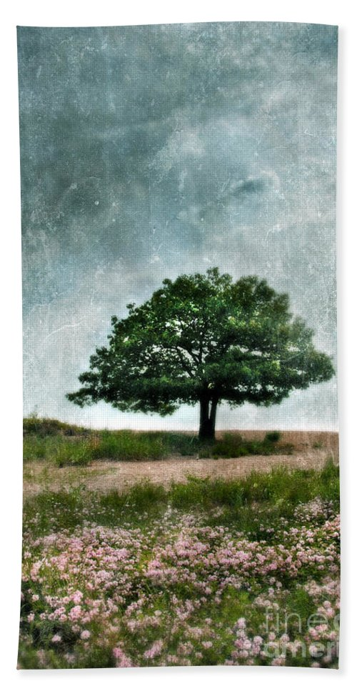 Tree Bath Sheet featuring the photograph Tree And Wildflowers by Jill Battaglia