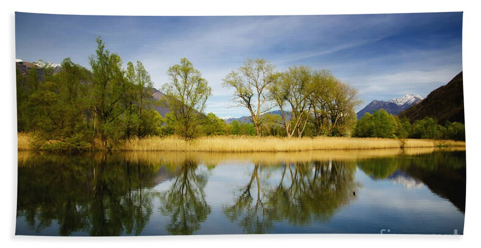 Tree Bath Sheet featuring the photograph Trees Reflections On The Lake by Mats Silvan