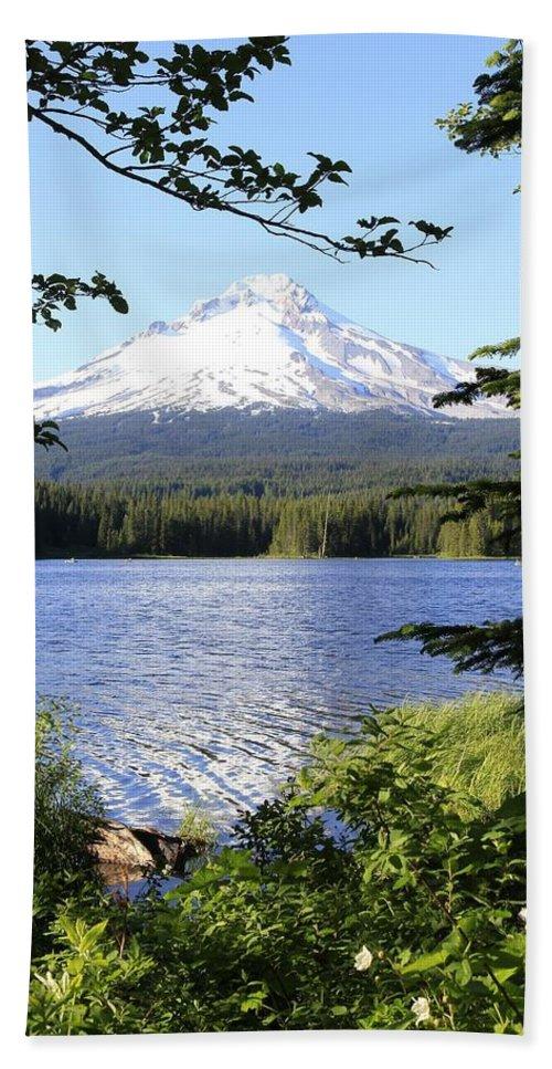 Trillium Lake Hand Towel featuring the photograph Trillium Lake At Mt. Hood by Athena Mckinzie