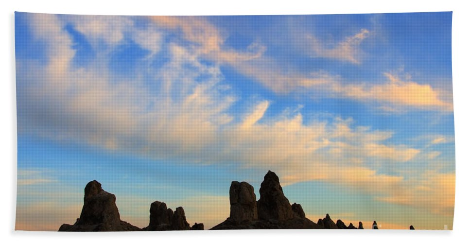 Trona Hand Towel featuring the photograph Trona Pinnacles At Sunset by Bob Christopher