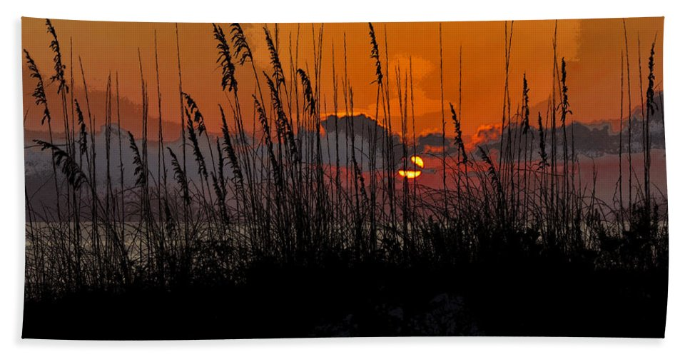 Art Bath Sheet featuring the painting Tropical Evening by David Lee Thompson