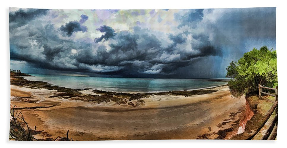 Clouds Hand Towel featuring the photograph Tropical Seasonal Monsoon Rain V3 by Douglas Barnard