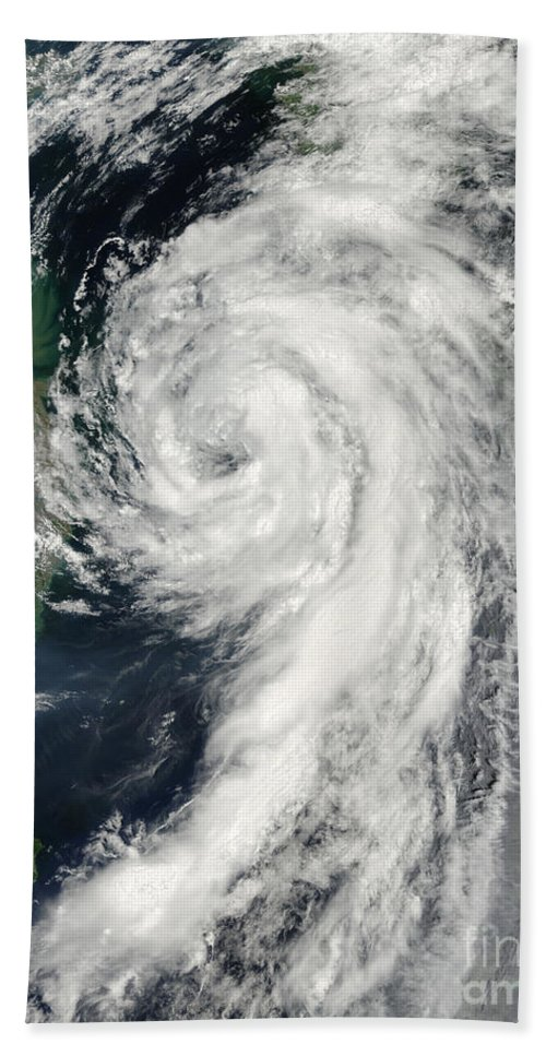 Natural Disasters Bath Sheet featuring the photograph Tropical Storm Dianmu by Stocktrek Images