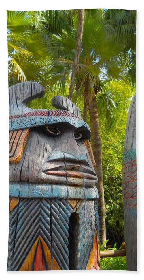 Adventureland Bath Sheet featuring the photograph Tropical Tikis by Rachel Kaufmann