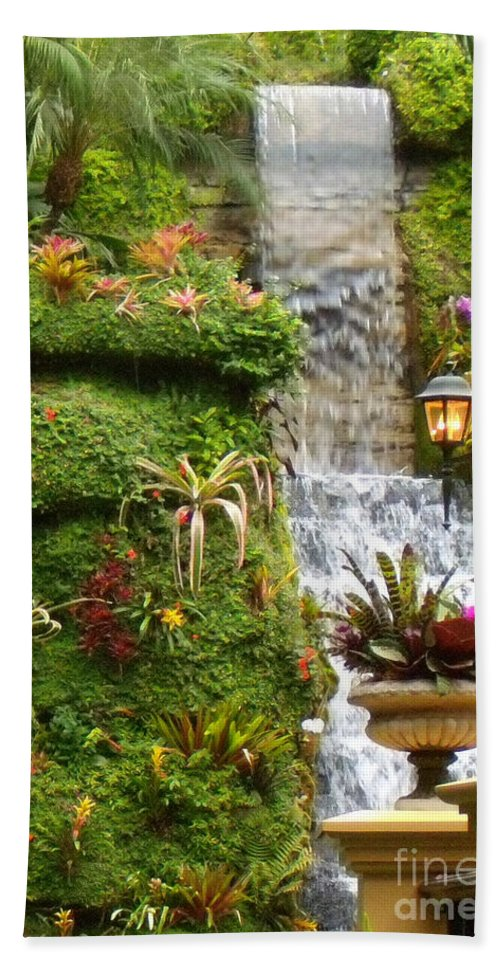 Waterfall Hand Towel featuring the photograph Tropical Waterfall by Lydia Holly