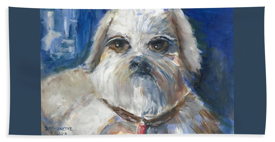 Trouble. Shih Tzu. Dog Bath Sheet featuring the painting Trouble by Bernadette Krupa