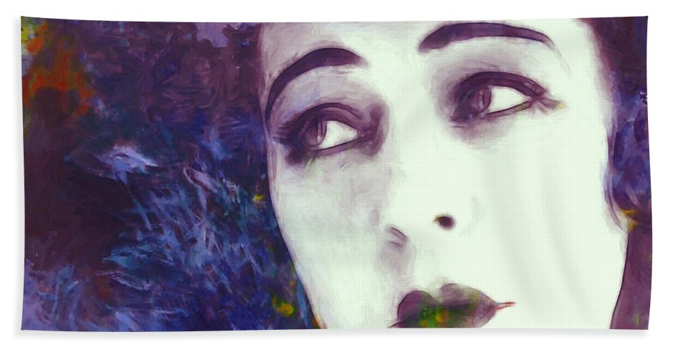 Portrait Face Beauty Female Woman Girl Actress Expressionism Impressionism Color Colorful Oil Painting Russian American Film Movie Nazimova Erotic Vintage Hand Towel featuring the painting True Beauty by Steve K