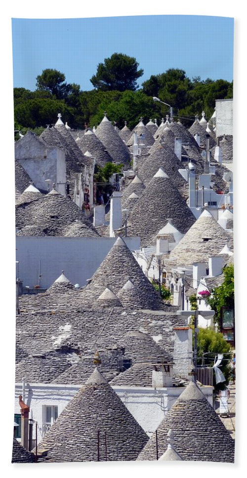 Alberobello Hand Towel featuring the photograph Truly Whimsical Trulli by Carla Parris