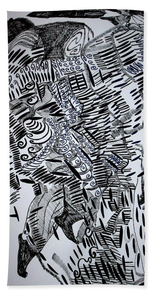 Jesus Bath Sheet featuring the drawing Tuareg Dance by Gloria Ssali