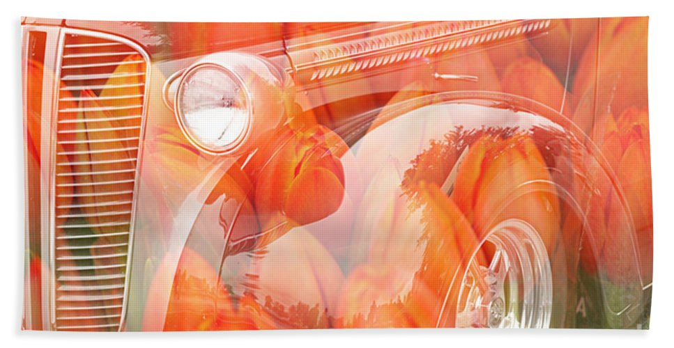 Old Cars Bath Sheet featuring the photograph Tulip Car Abstract by Randy Harris