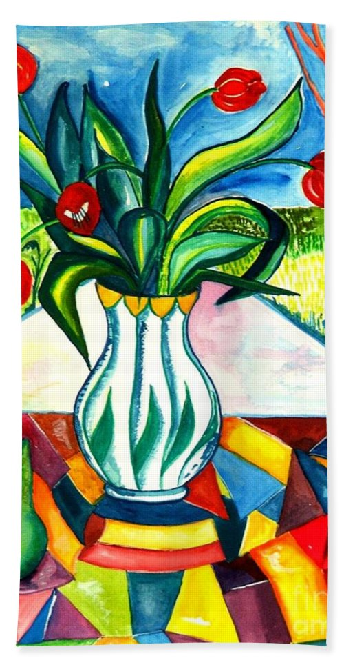 Flowers Bath Sheet featuring the painting Tulips And A Pear by Caroline Street