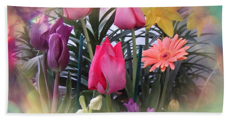 Floral Hand Towel featuring the photograph Tulips by Mother Nature