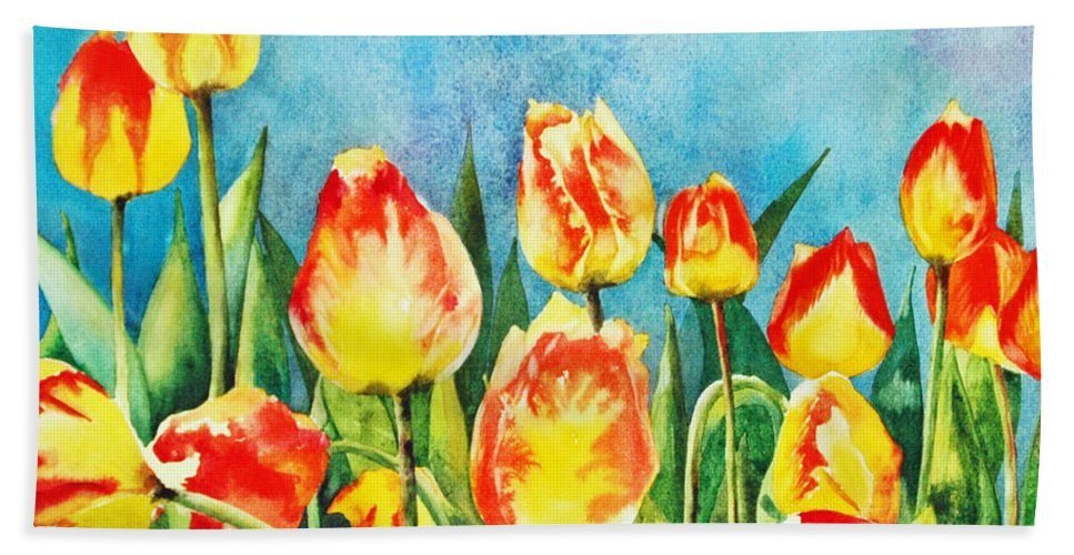 Tulips Bath Sheet featuring the painting Tulips by Diane Fujimoto