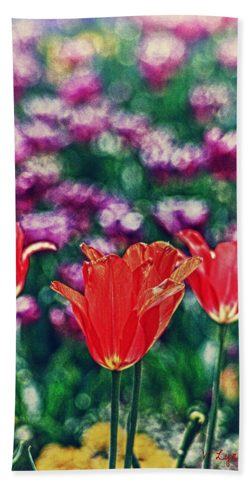 Flower Bath Sheet featuring the photograph Tulips On Beautiful Bokeh by Lynne Jenkins