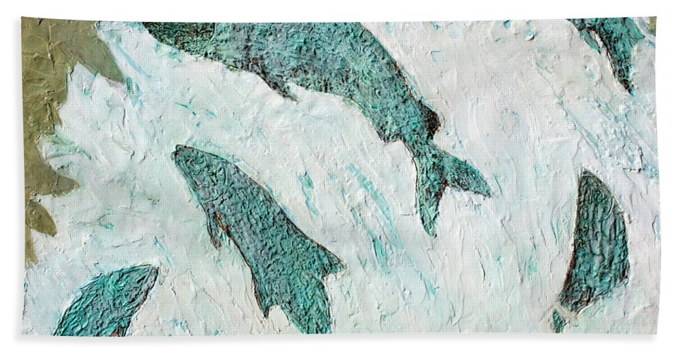 Water Bath Sheet featuring the painting Tumwater Falls by Lisa Baack