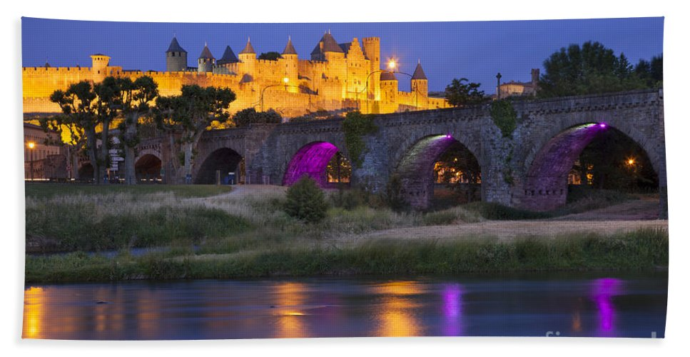 Arch Bath Sheet featuring the photograph Twilight Over Carcassonne by Brian Jannsen
