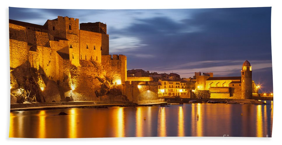 Beach Bath Sheet featuring the photograph Twilight Over Collioure by Brian Jannsen