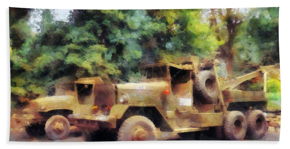Truck Bath Sheet featuring the photograph Two Army Trucks by Susan Savad