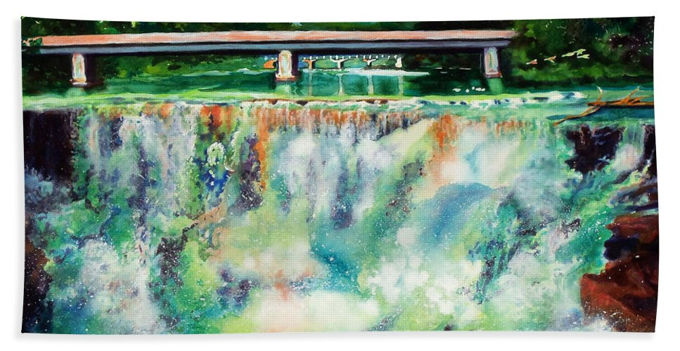 Paintings Hand Towel featuring the painting Two Bridges And A Falls 2     by Kathy Braud