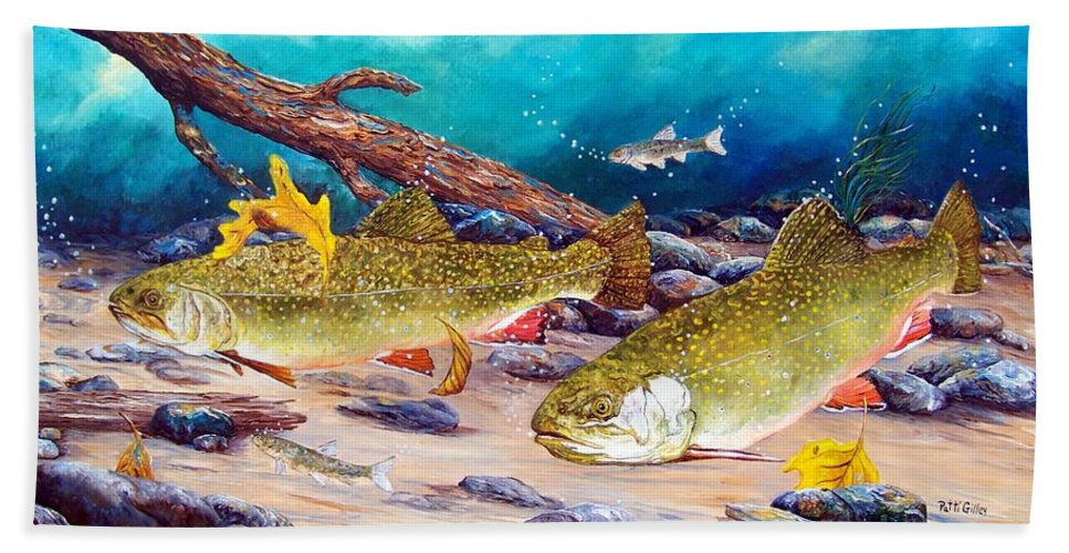 Brook Trout Bath Sheet featuring the painting Two Brook Trout by Patti Gilley