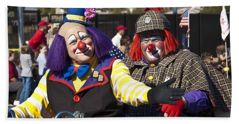 Clowns Bath Sheet featuring the photograph Two Clowns by Jon Berghoff