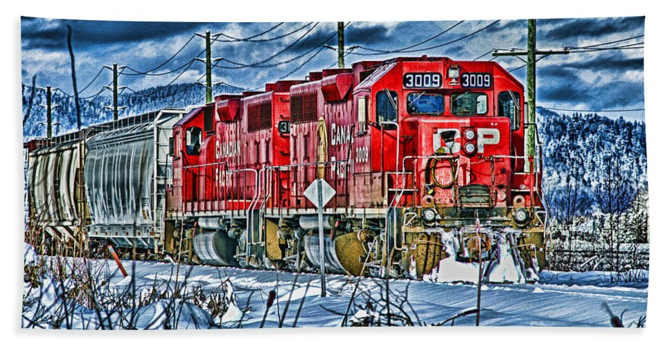 Trains Hand Towel featuring the photograph Two Cp Rail Engines Hdr by Randy Harris