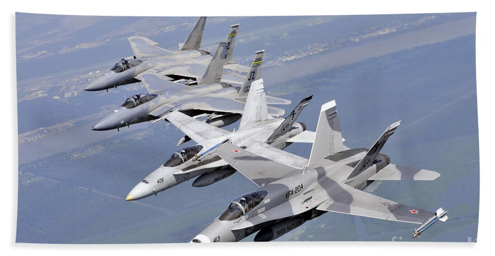 Aircraft Hand Towel featuring the photograph Two Fa-18 Hornets And Two F-15 Strike by Stocktrek Images