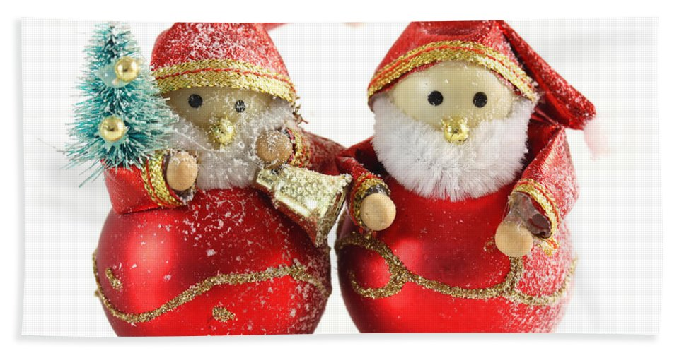 Background Hand Towel featuring the photograph Two Father Christmas Decorations by Simon Bratt Photography LRPS