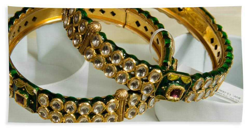 Bangle Bath Sheet featuring the photograph Two Green And Gold Bangles On Top Of Each Other by Ashish Agarwal