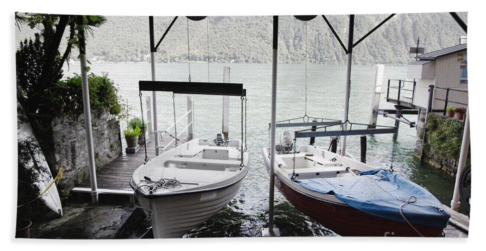 Bots Bath Sheet featuring the photograph Two Hanging Boats by Mats Silvan