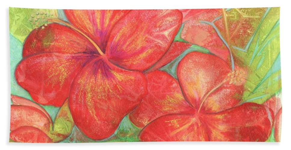 Hibiscus Bath Sheet featuring the painting Two Hibiscus Blossoms by Carla Parris