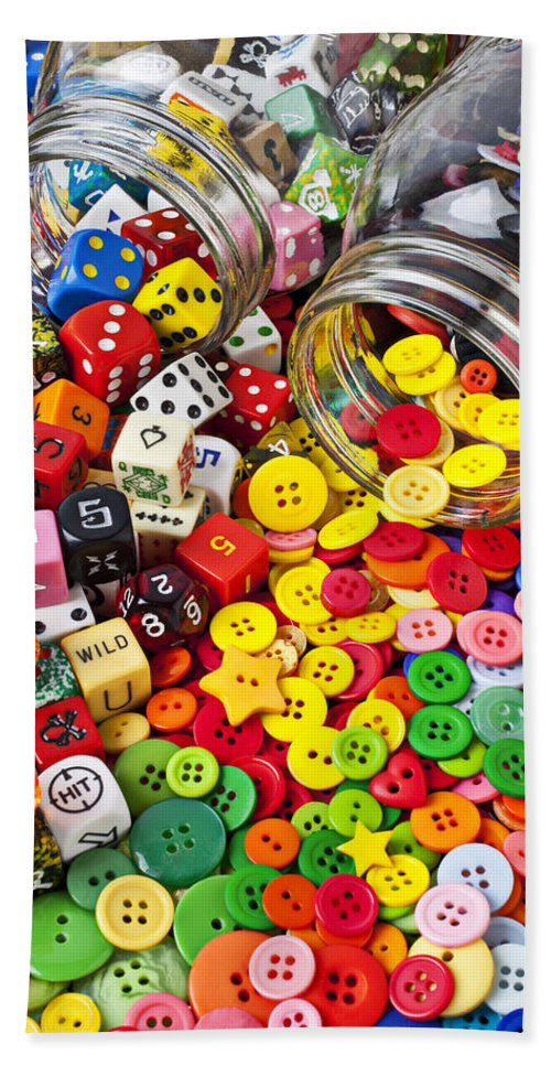 Jar Dice Games Play Numbers Gamble Bath Sheet featuring the photograph Two Jars Dice And Buttons by Garry Gay