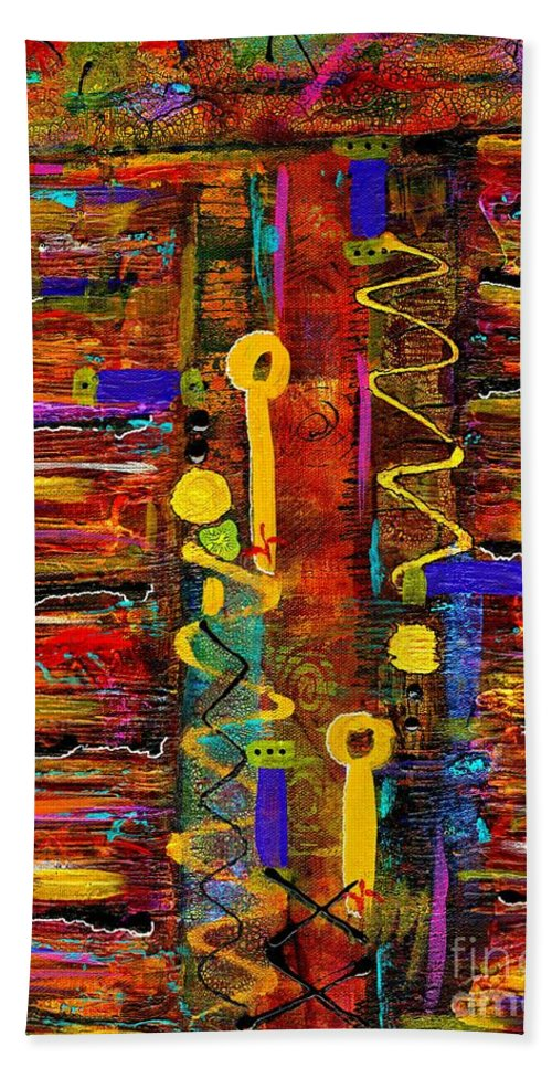 Acrylic Bath Sheet featuring the painting Two Keyholes by Angela L Walker